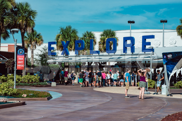 Cape Canaveral, Florida - August 13, 2018: Entrance at NASA Kennedy Space Center Stock Photo