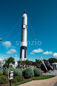 Cape Canaveral, Florida - August 13, 2018: Rocket Garden at NASA Kennedy Space Center Stock Photo