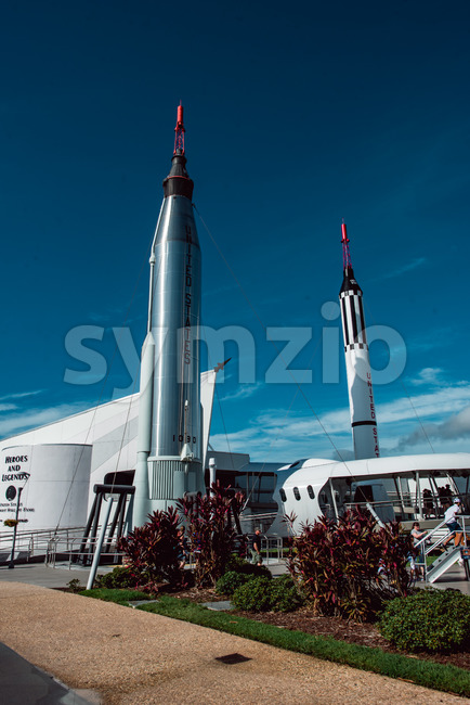 Cape Canaveral, Florida - August 13, 2018: View of Rocket Garden at NASA Kennedy Space Center
