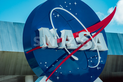 Cape Canaveral, Florida - August 13, 2018: NASA globe at NASA Kennedy Space Center Stock Photo