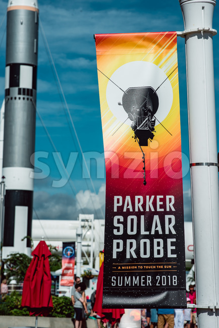 Cape Canaveral, Florida - August 13, 2018: View of Banner for Parker Solar Probe with rocket in background at NASA ...