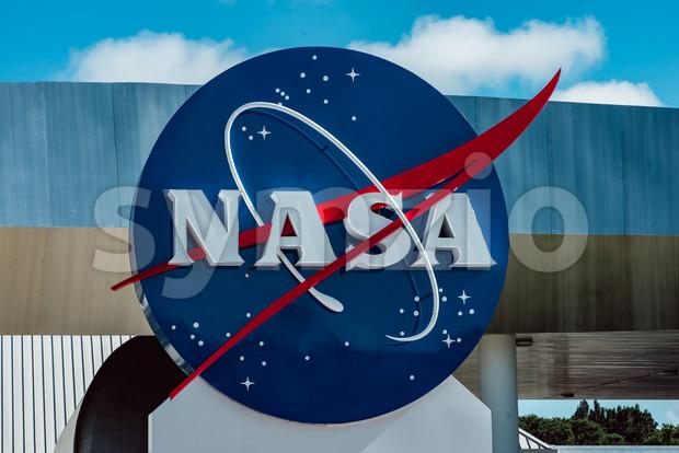Cape Canaveral, Florida - August 13, 2018: NASA globe at NASA Kennedy Space Center Stock Photo