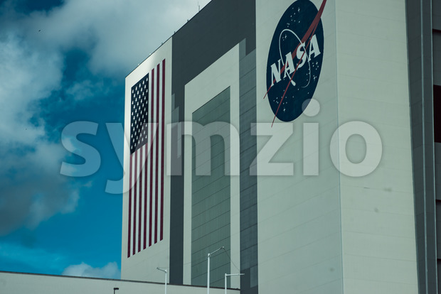 Cape Canaveral, Florida - August 13, 2018: View of Space Shuttle Hanger building at NASA Kennedy Space Center