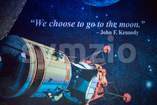 Cape Canaveral, Florida - August 13, 2018: Sign quote We choose to go to the moon by John F Kennedy at NASA Kennedy Space Center Stock Photo