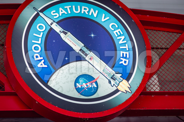 Cape Canaveral, Florida - August 13, 2018: View of Sign for Apollo Center at NASA Kennedy Space Center