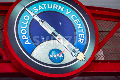 Cape Canaveral, Florida - August 13, 2018: Sign for Apollo Center at NASA Kennedy Space Center Stock Photo