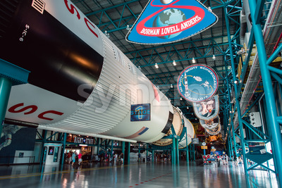 Cape Canaveral, Florida - August 13, 2018: Staurn V Rocket at NASA Kennedy Space Center Stock Photo