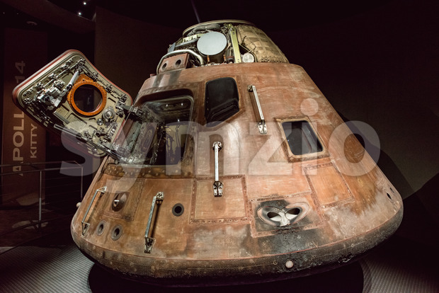 Cape Canaveral, Florida - August 13, 2018: View of Apollo 14 Capsuleat NASA Kennedy Space Center