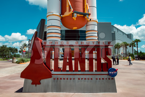 Cape Canaveral, Florida - August 13, 2018: View of Atlantis Space Shuttle Rocket Booster at NASA Kennedy Space Center