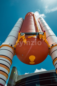 Cape Canaveral, Florida - August 13, 2018: Atlantis Space Shuttle Rocket Booster at NASA Kennedy Space Center Stock Photo