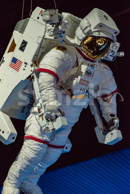 Cape Canaveral, Florida - August 13, 2018: Astronaut Suit at NASA Kennedy Space Center Stock Photo
