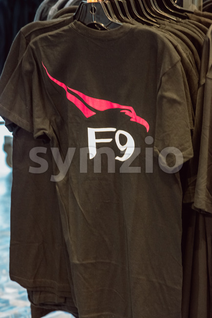 Cape Canaveral, Florida - August 13, 2018: View of SpaceX Falcon 9 F9 shirt at NASA Kennedy Space Center