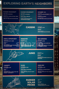 Cape Canaveral, Florida - August 13, 2018: Exploring Earth's Neighbors information board at NASA Kennedy Space Center Stock Photo