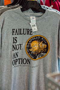Cape Canaveral, Florida - August 13, 2018: Failure is not an option Apollo 13 shirt at NASA Kennedy Space Center Stock Photo