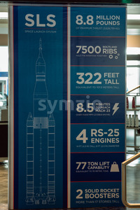 Cape Canaveral, Florida - August 13, 2018: SLS information board at NASA Kennedy Space Center Stock Photo