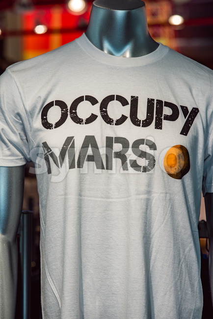 Cape Canaveral, Florida - August 13, 2018: Occupy Mars shirt at NASA Kennedy Space Center Stock Photo