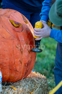 CHADDS FORD, PA - OCTOBER 18: Person carving pumpkin at The Great Pumpkin Carve carving contest on October 18, 2018 Stock Photo