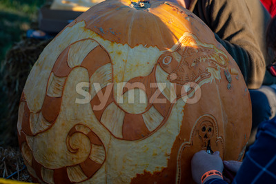 CHADDS FORD, PA - OCTOBER 18: Dragon and Bettlejuice Betelgeuse The Great Pumpkin Carve carving contest on October 18, 2018 Stock Photo