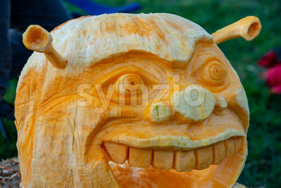 CHADDS FORD, PA - OCTOBER 18: Shrek at The Great Pumpkin Carve carving contest on October 18, 2018 Stock Photo
