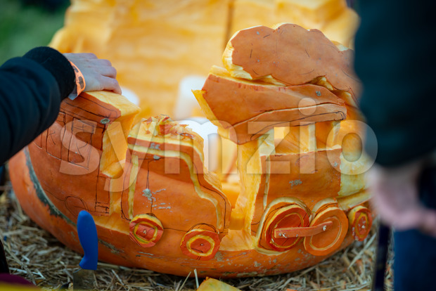 CHADDS FORD, PA - OCTOBER 18: View Person carving pumpkin at The Great Pumpkin Carve carving contest on October 18, ...