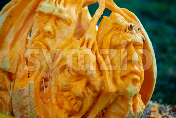 CHADDS FORD, PA - OCTOBER 18: Spooky faces at The Great Pumpkin Carve carving contest on October 18, 2018 Stock Photo