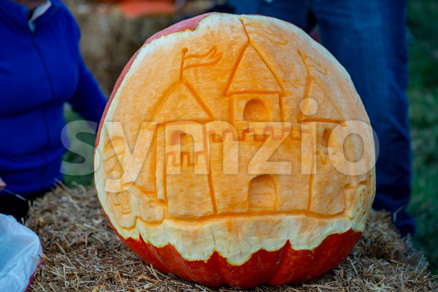 CHADDS FORD, PA - OCTOBER 18: View of castle at The Great Pumpkin Carve carving contest on October 18, 2018