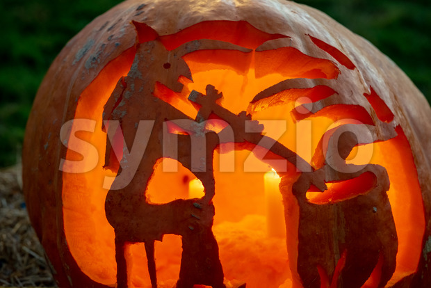 CHADDS FORD, PA - OCTOBER 18: Witch and Caludron at The Great Pumpkin Carve carving contest on October 18, 2018 Stock Photo
