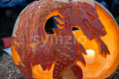 CHADDS FORD, PA - OCTOBER 18: Dragon at The Great Pumpkin Carve carving contest on October 18, 2018 Stock Photo