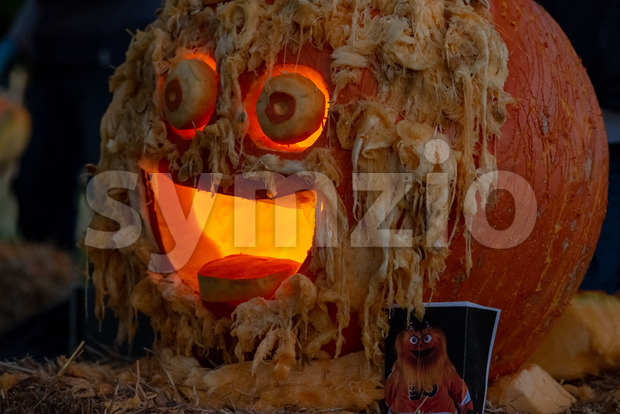 CHADDS FORD, PA - OCTOBER 18: Gritty the new Philadelphia Flyer's mascot at The Great Pumpkin Carve carving contest on October 18, 2018 Stock Photo