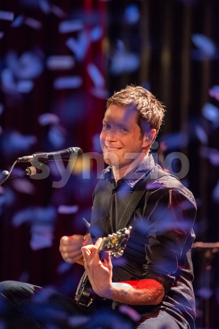 ITHACA, NY - NOVEMBER 4, 2018: Lead vocalist Guitarist Damian Kulash of the band OK Go performs on their Live ...