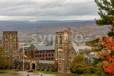 Buildings at Cornell University during peak fall time with autumn colors in Ithaca, New York Stock Photo