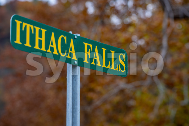 Ithaca Falls in the Finger Lakes region, Ithaca, New York. This is the last and largest of several waterfalls on ...
