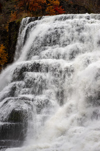 Ithaca Falls in the Finger Lakes region, Ithaca, New York. This is the last and largest of several waterfalls on Fall Creek. Stock Photo