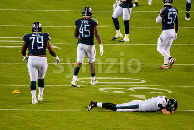 Philadelphia, PA - August 8, 2019: Philadelphia Eagles backup Quaterback Nate Sudfeld is injured Stock Photo
