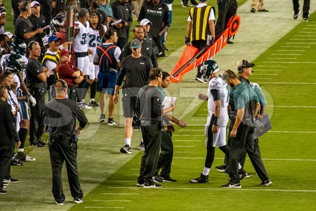 Philadelphia, PA - August 8, 2019: Philadelphia Eagles backup Quaterback Nate Sudfeld is injured Stock Photo